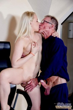 Young blonde gets fucked by old businessman