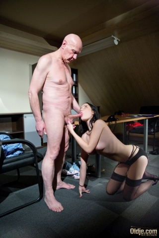Nymph young girl massaging old balls and sucking old dick