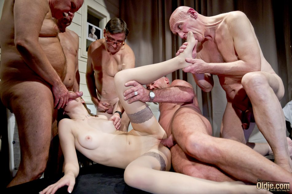 Pussy fucked, foot fetish and blowjob in old and young gang bang