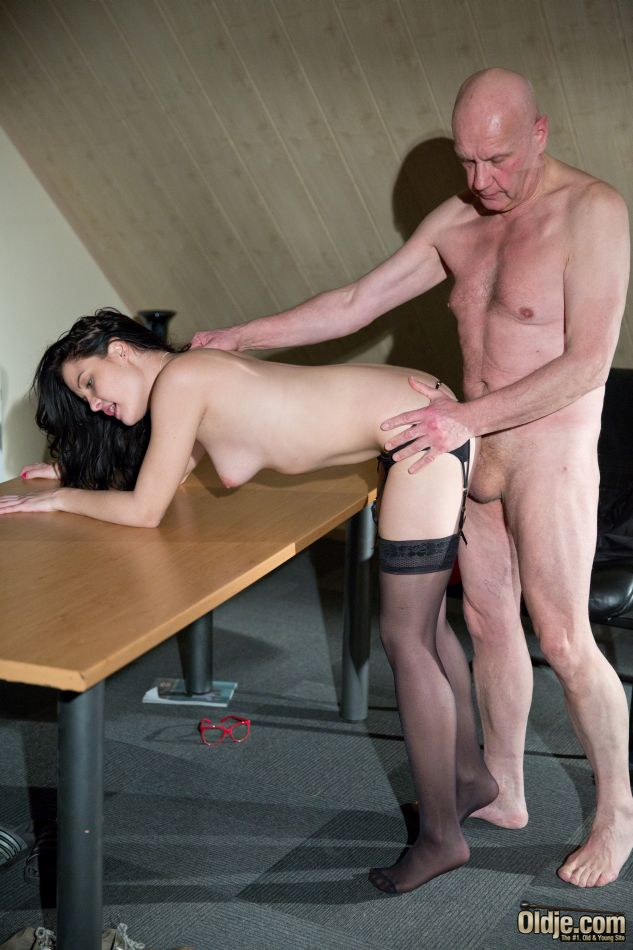 Perverted old man fucking doggy style horny young pussy
